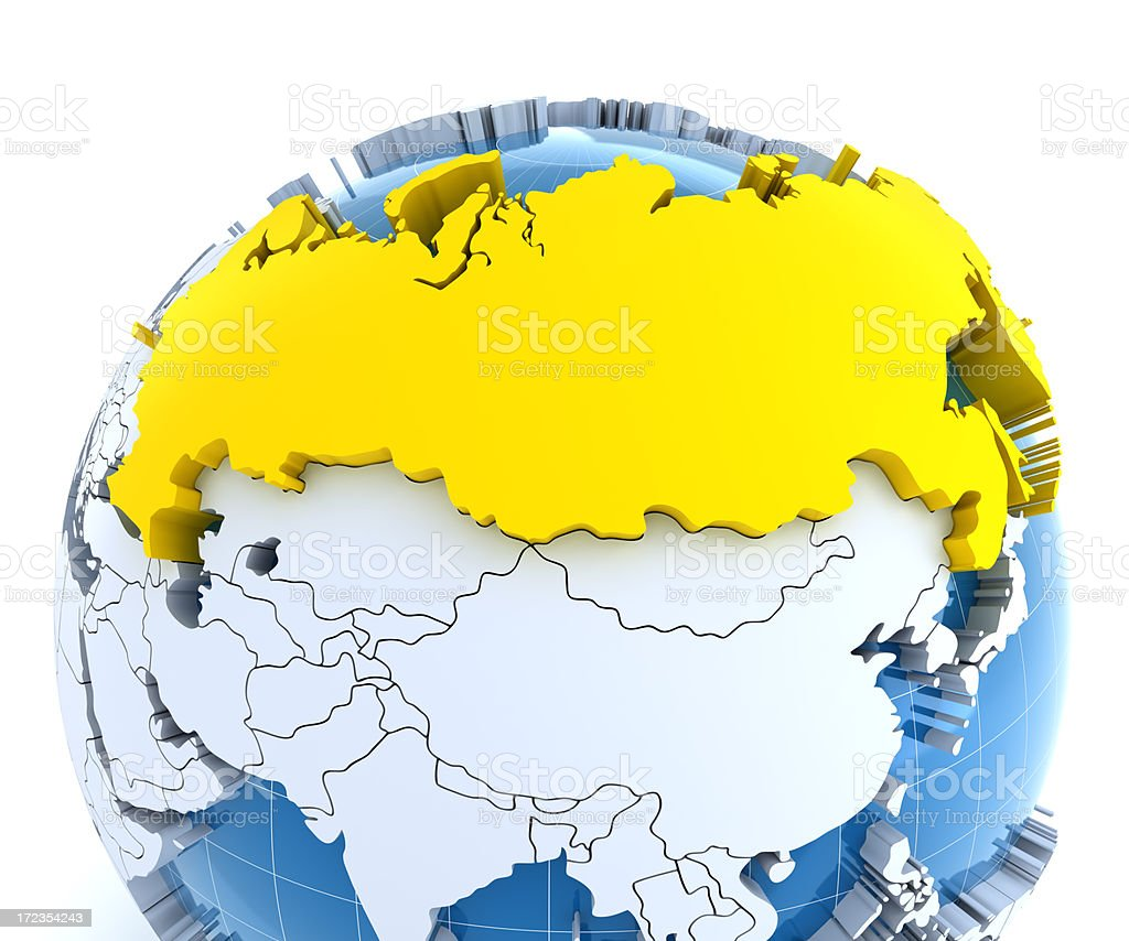 Globe, close-up on Russia royalty-free stock photo