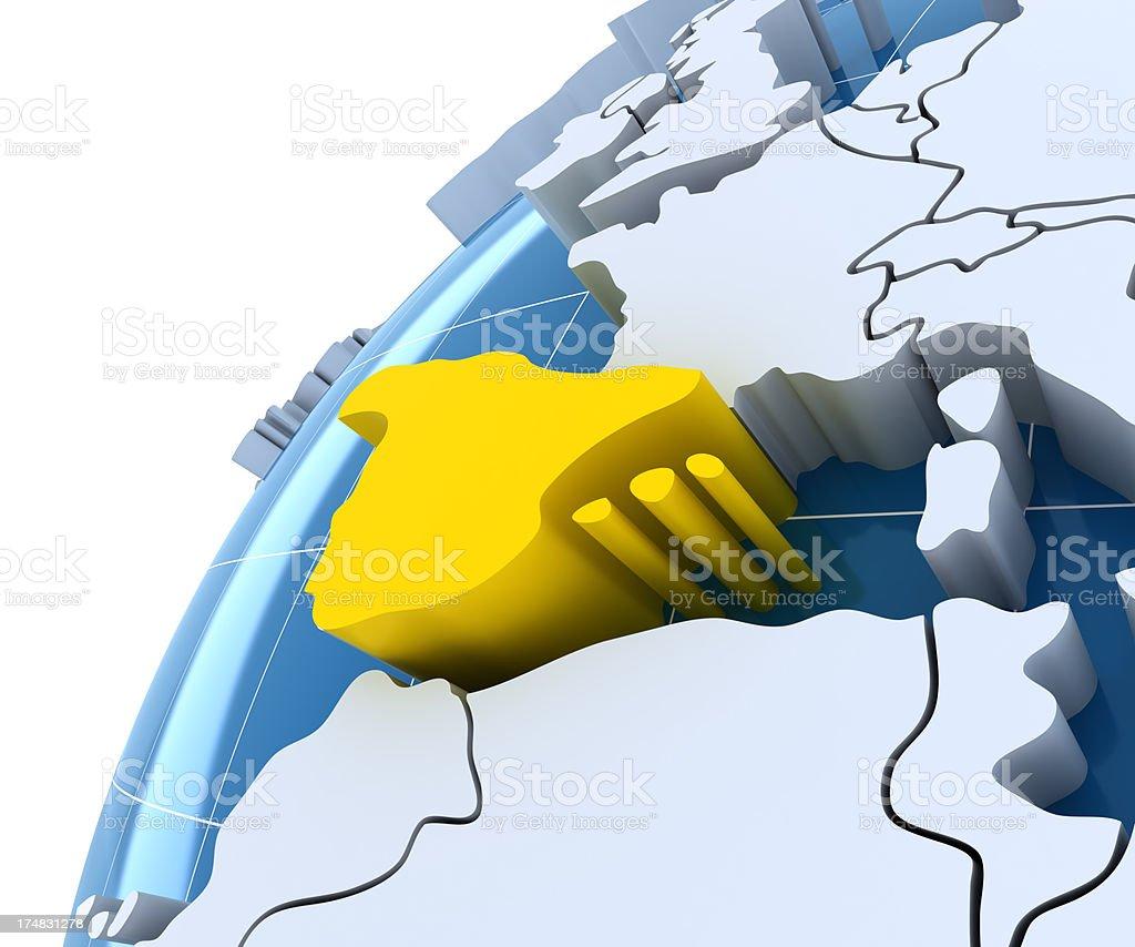 Globe, close-up on Spain royalty-free stock photo