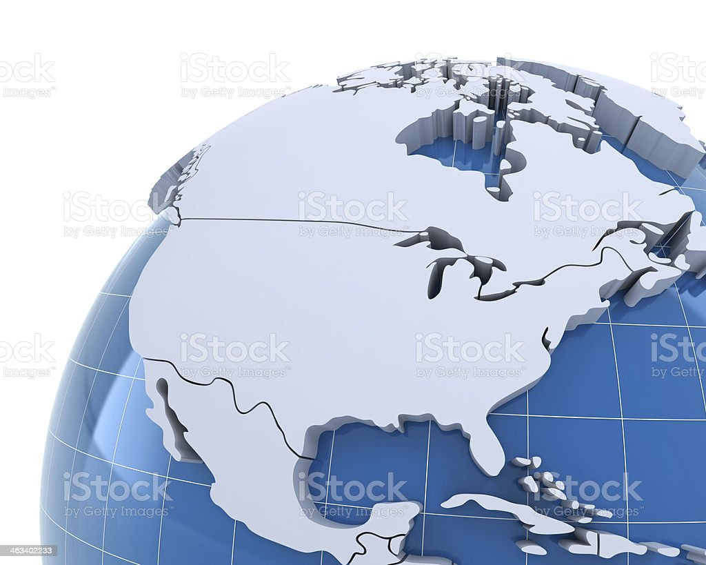 Globe, close-up on USA and Canada stock photo