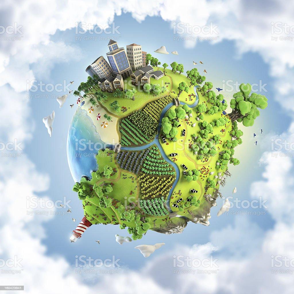 globe concept of fantasy happy green world stock photo