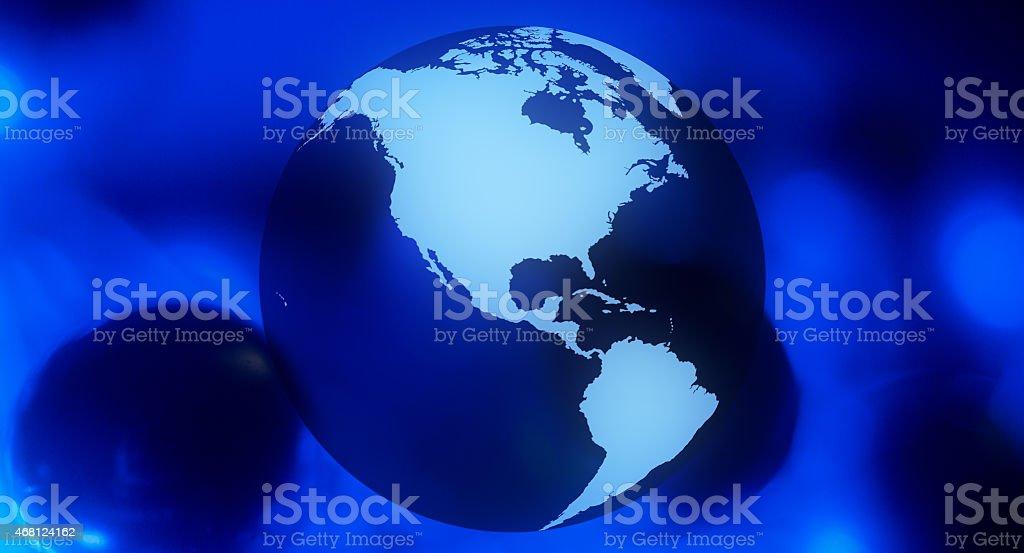 Globe dark blue business background stock photo
