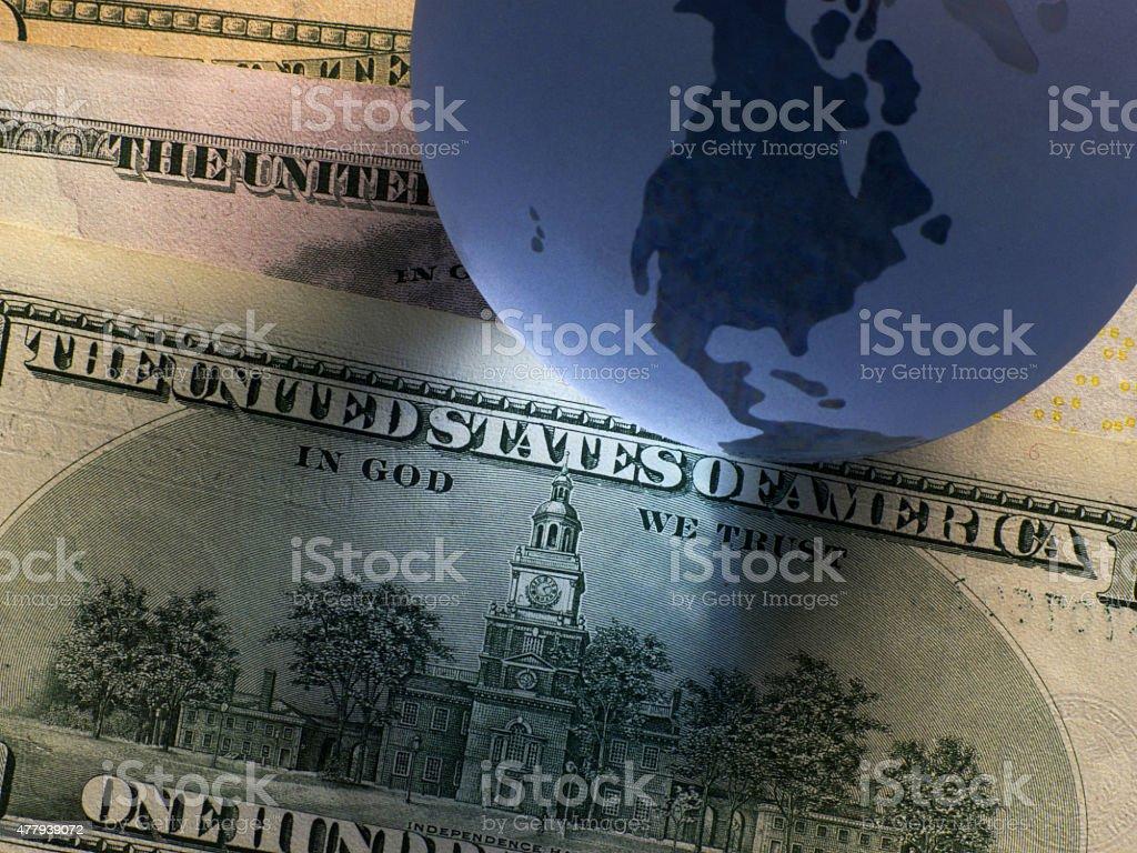 Globe dollar stock photo