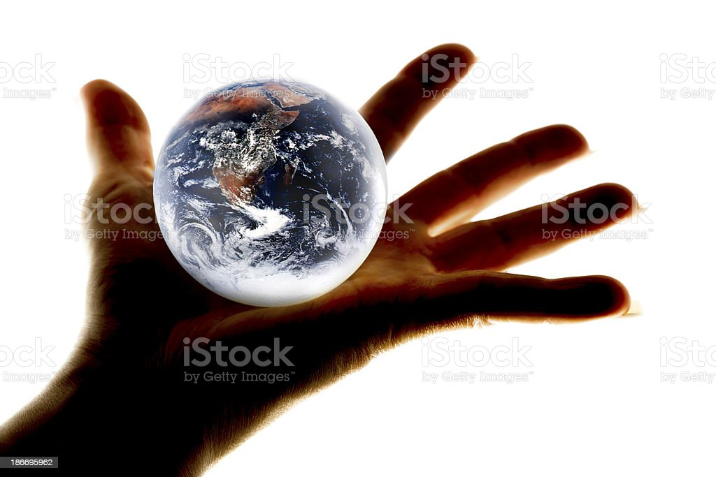 Globe earth glass ball in human hand on white royalty-free stock photo
