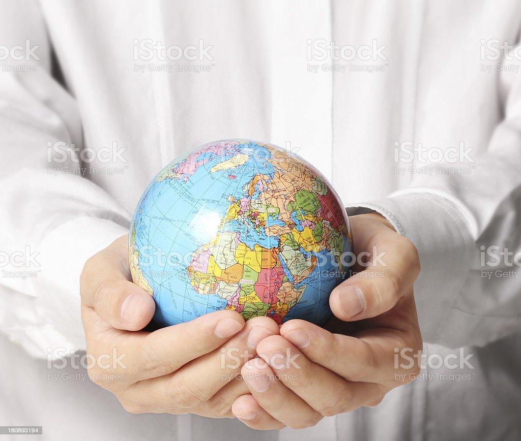 Globe ,earth in  hand royalty-free stock photo