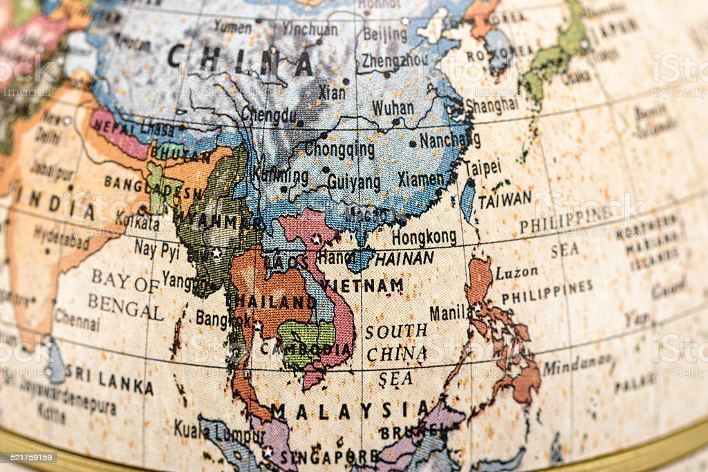 Globe East and Southeast Asia stock photo