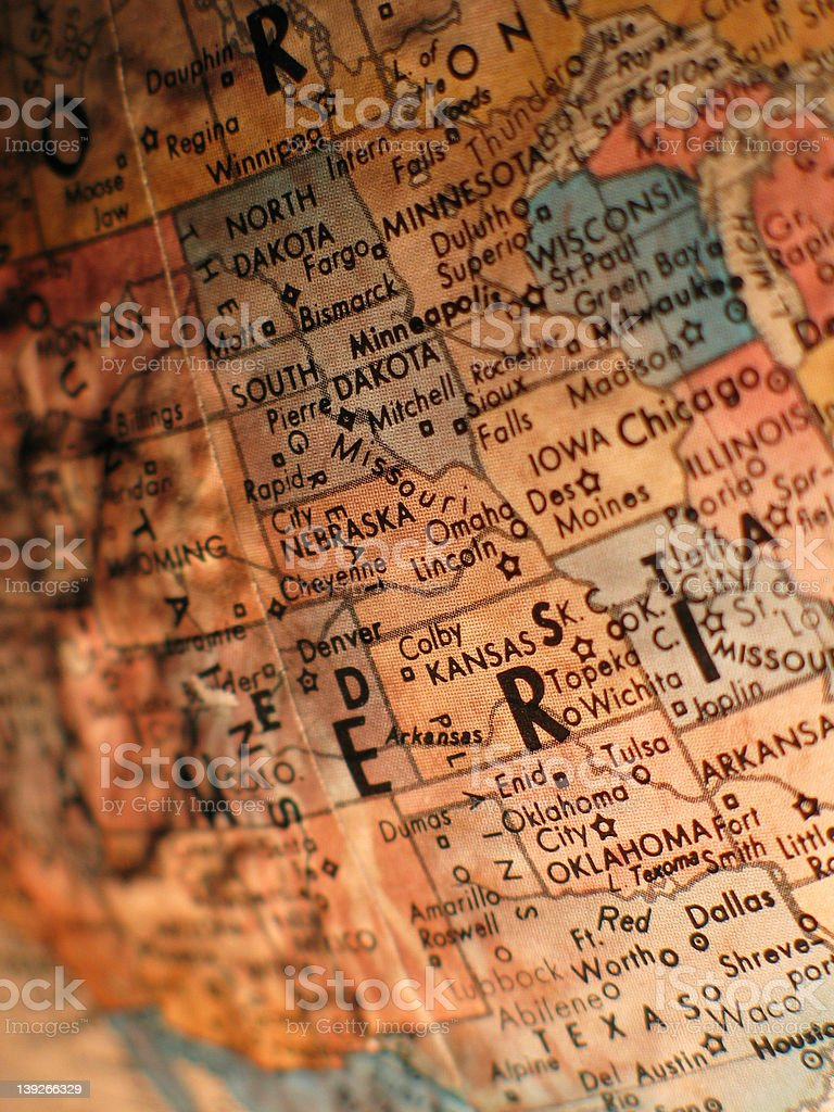 Globe East of the Rockies royalty-free stock photo