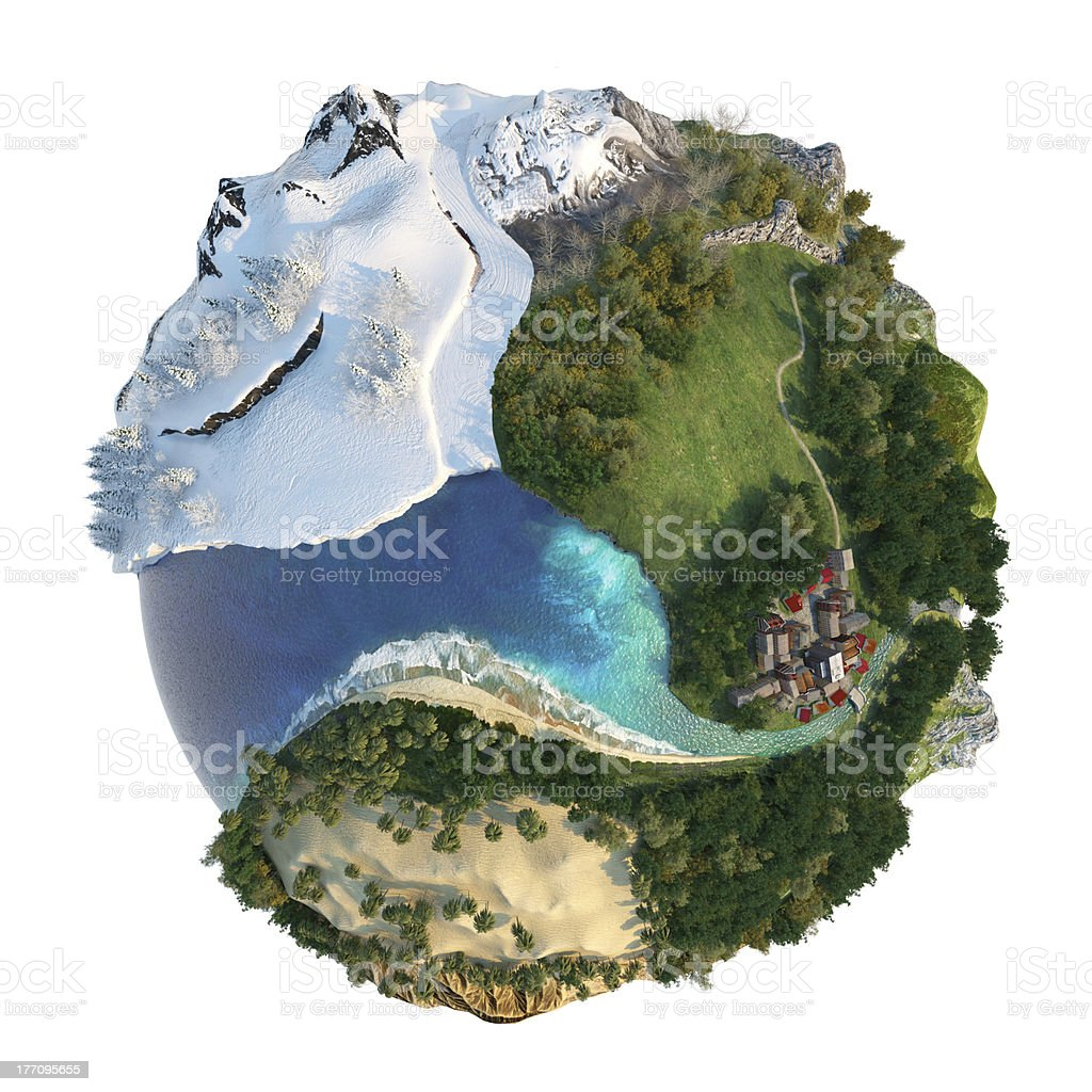 Globe featuring climate landscapes stock photo