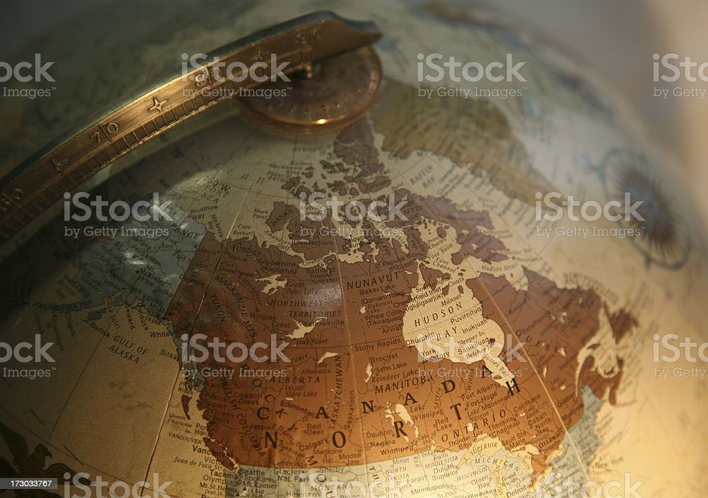 A globe focusing on the area of Canada. stock photo