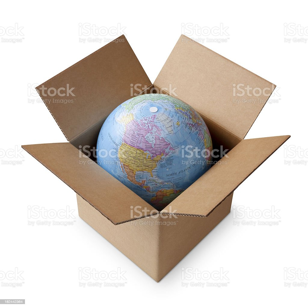 Globe in a box stock photo