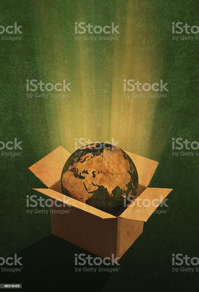 Globe In A Box ( Europe and Asia ) royalty-free stock photo