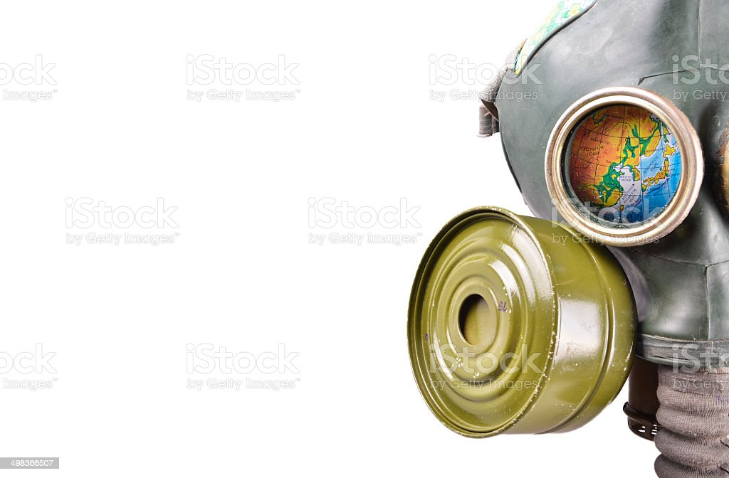Globe in a gas mask stock photo