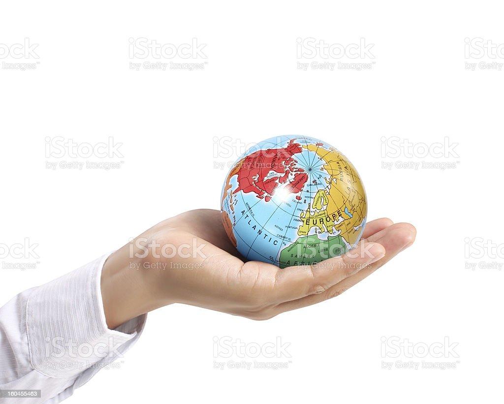 Globe  in  hand royalty-free stock photo
