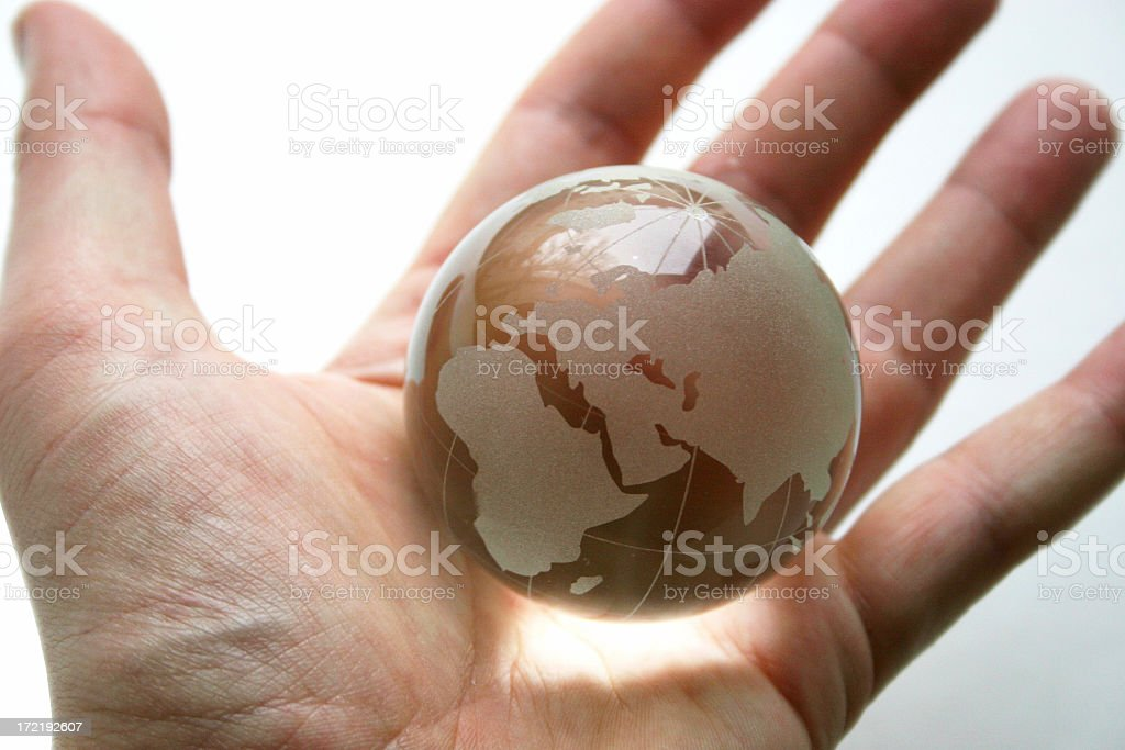 Globe in Palm of Hand royalty-free stock photo