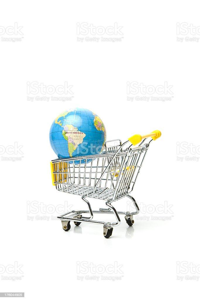 Globe in Shopping Cart stock photo