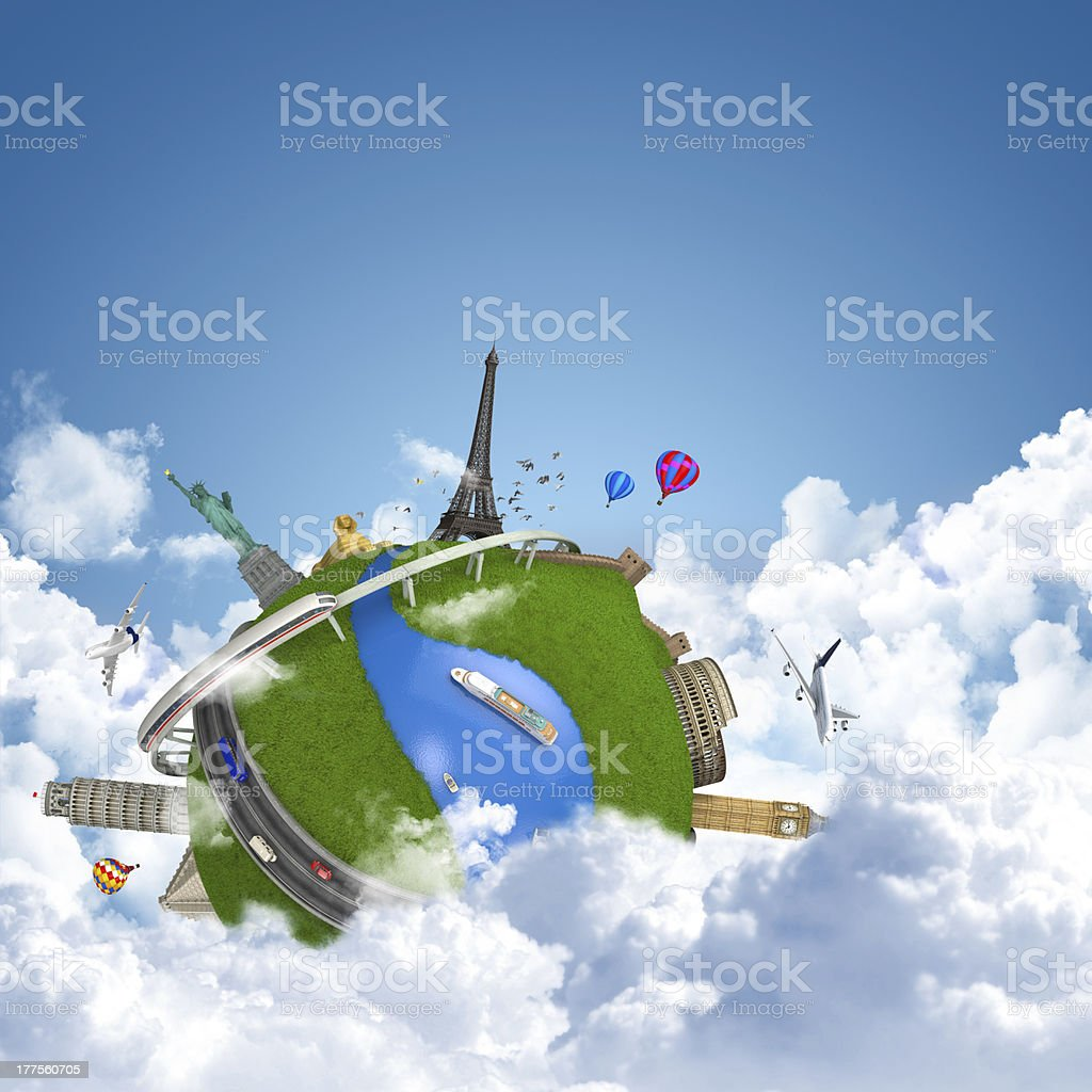 A globe in the clouds with famous landmarks above stock photo
