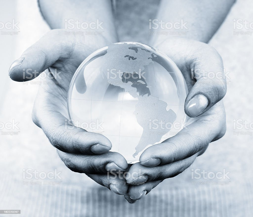 Globe in the hand royalty-free stock photo