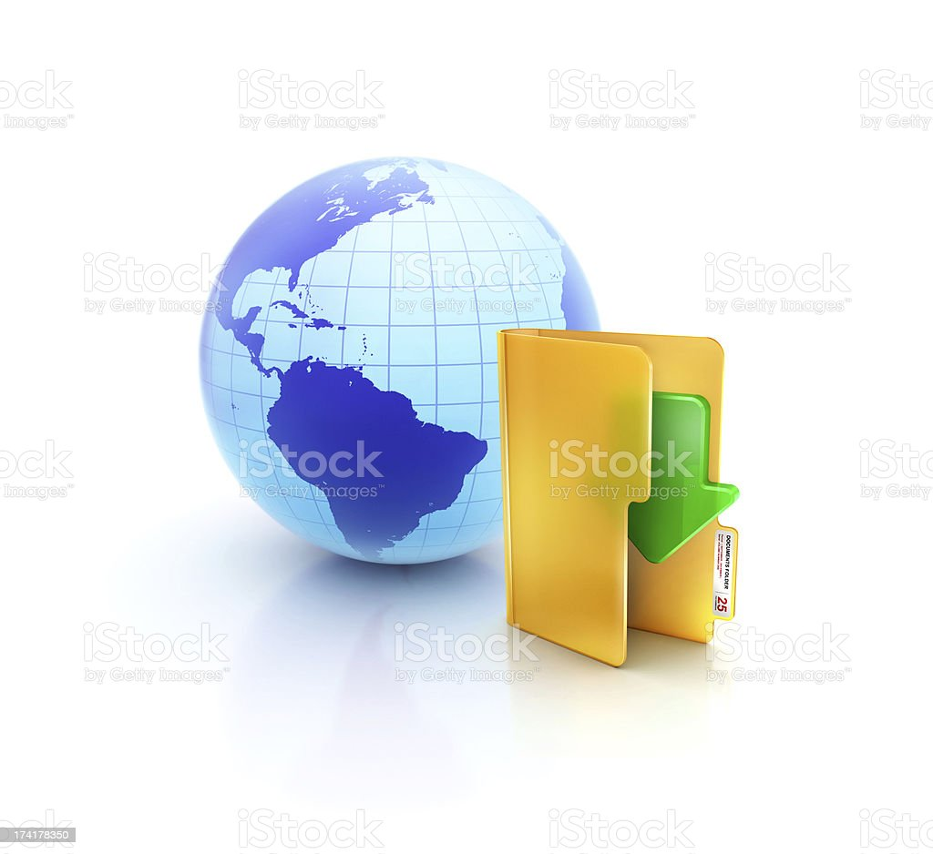 Globe internet download with online down arrow folder icon stock photo