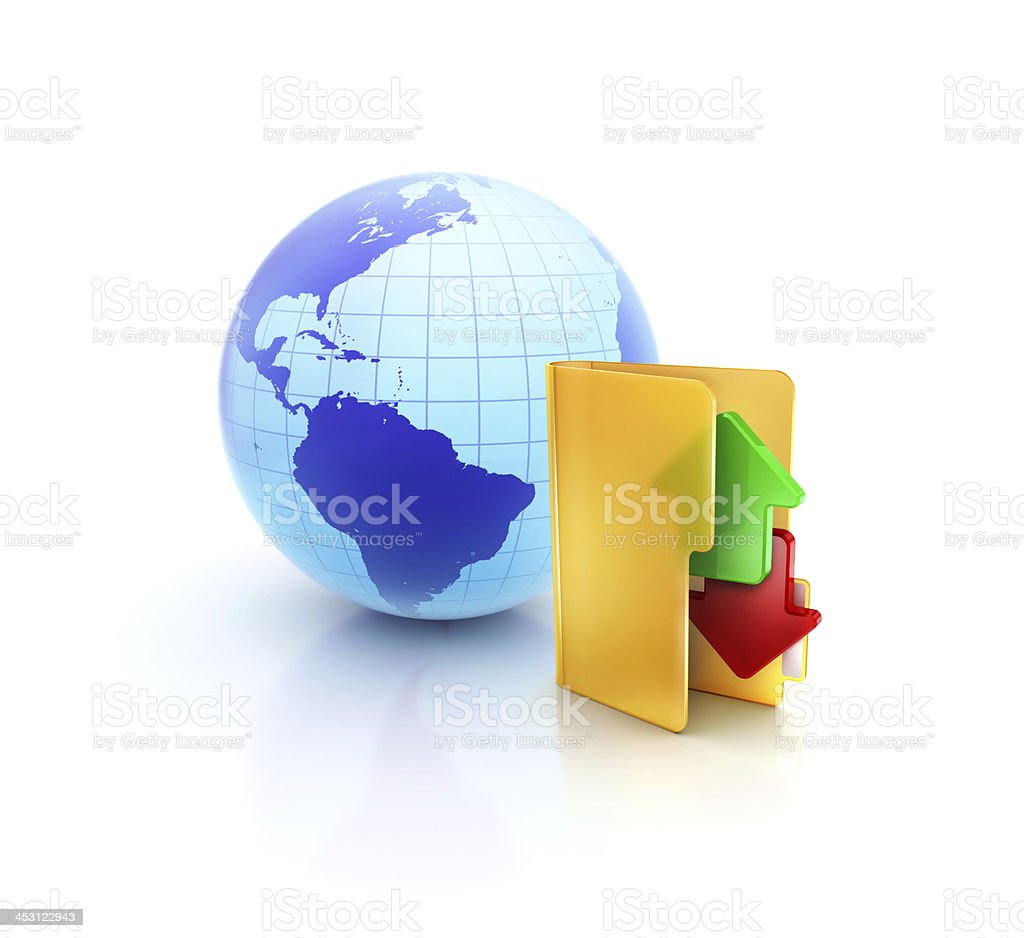 Globe internet ftp with online exchange and sync folder icon stock photo
