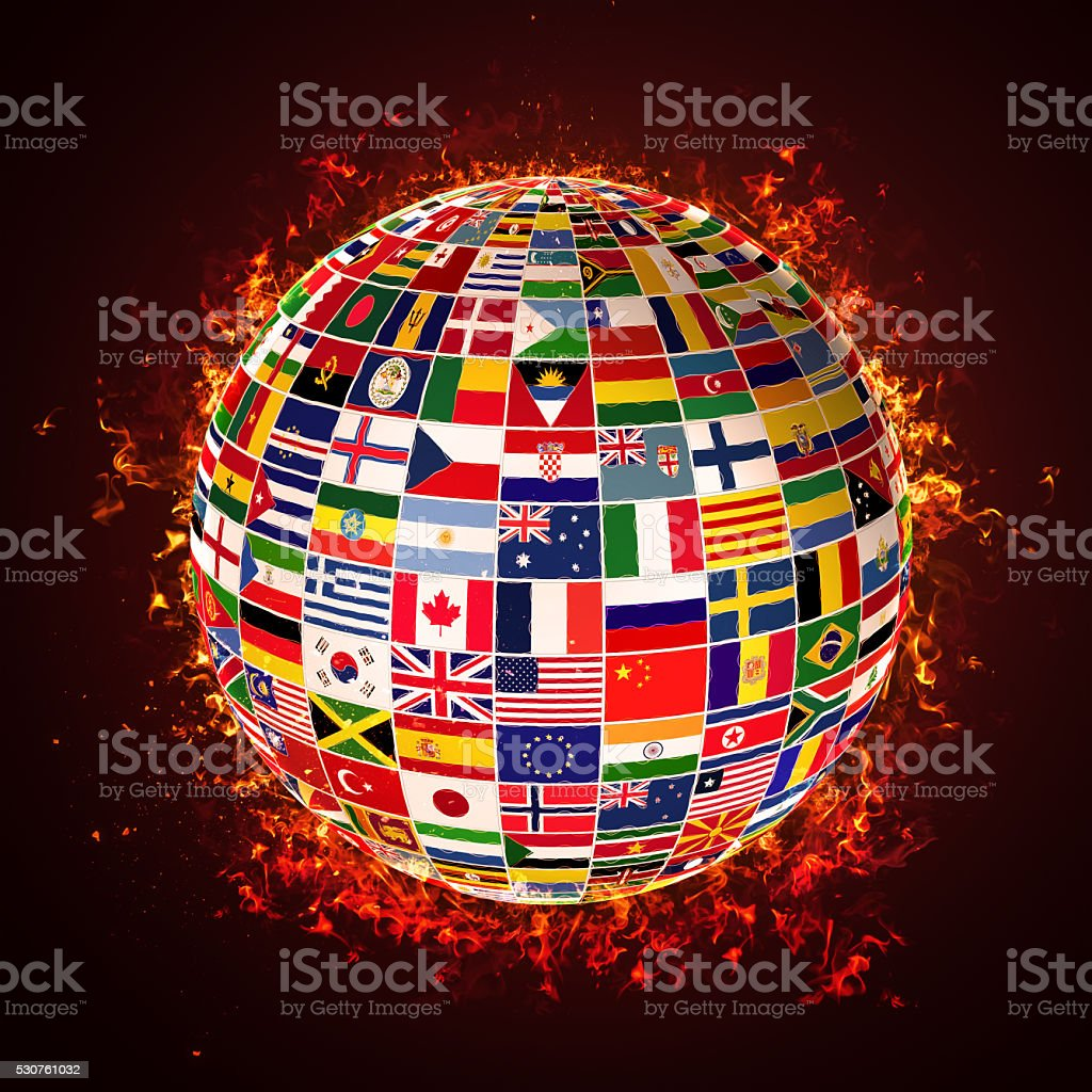 3D globe made up of world flags stock photo