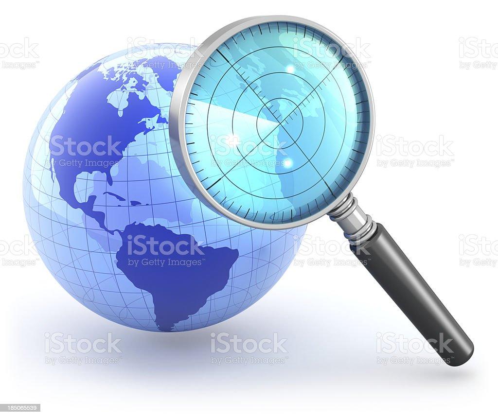 Globe magnifying glass radar concept royalty-free stock photo