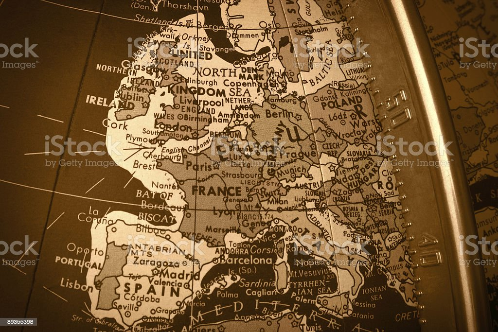 Globe Map of Europe royalty-free stock photo