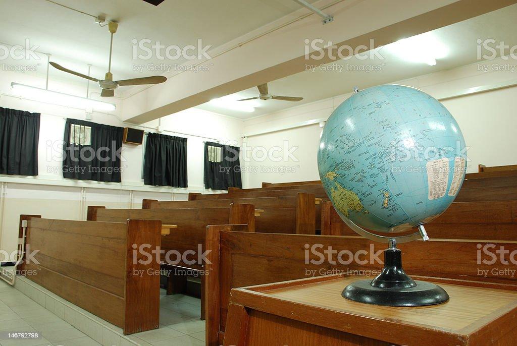 Globe model in a classroom stock photo