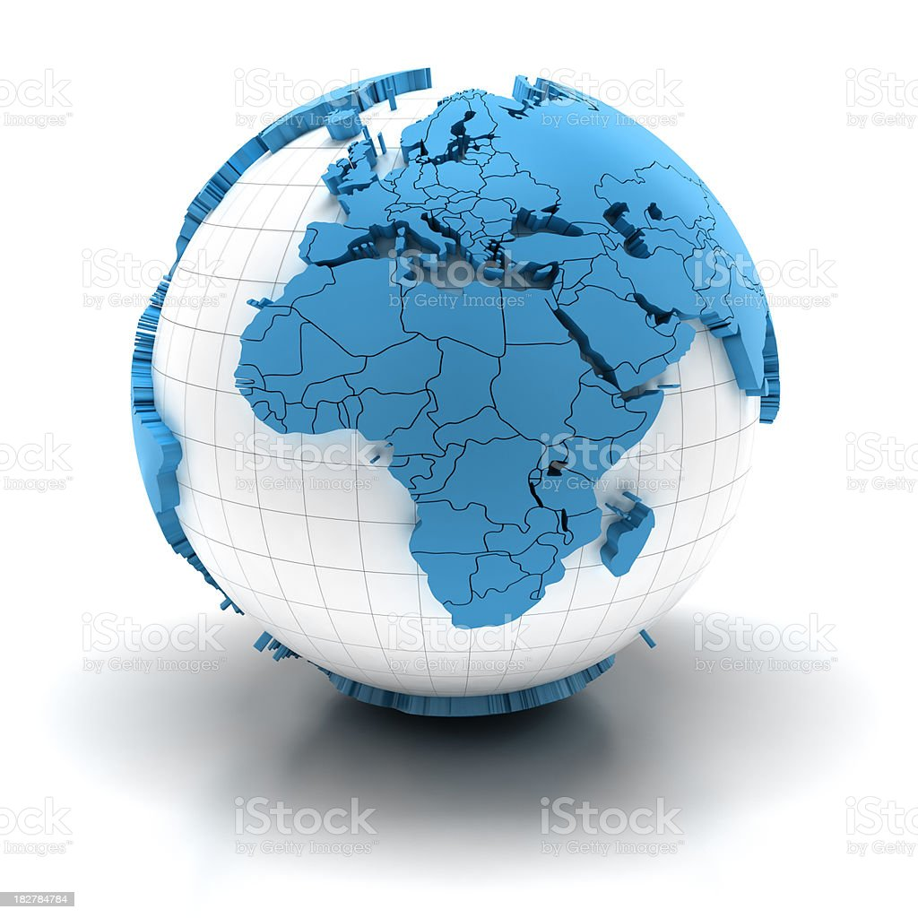 Globe of Africa with national borders, two clipping paths provided royalty-free stock photo