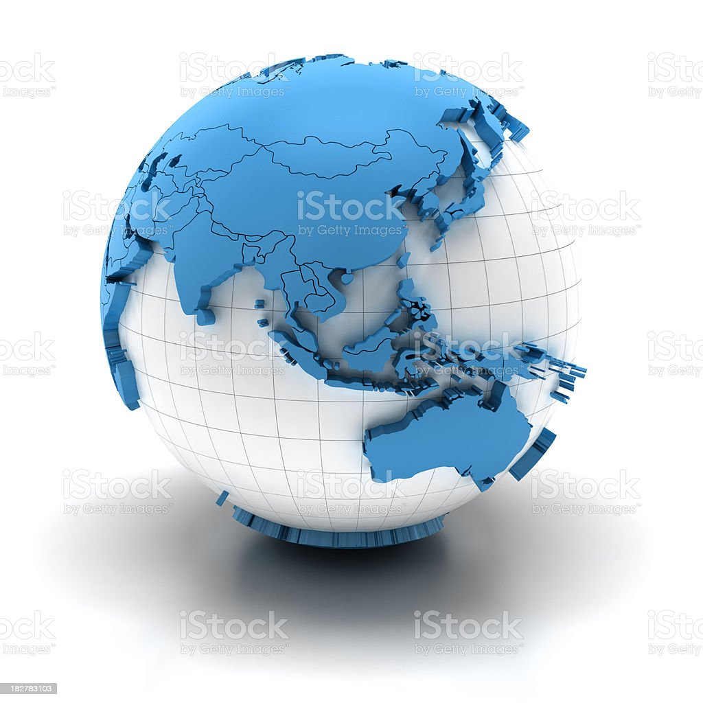 Globe of asia with national borders, two clipping paths provided stock photo