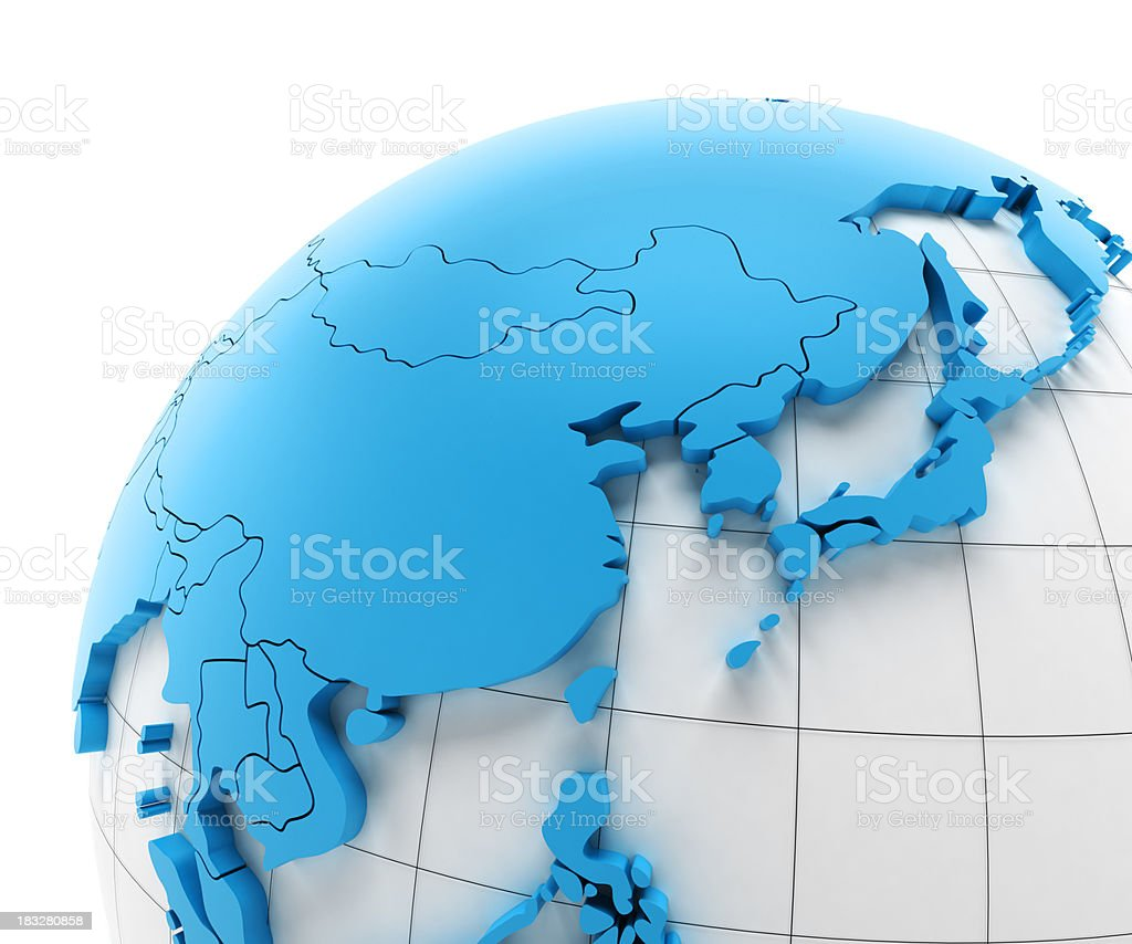 Globe of China with national borders, three clipping paths provided royalty-free stock photo