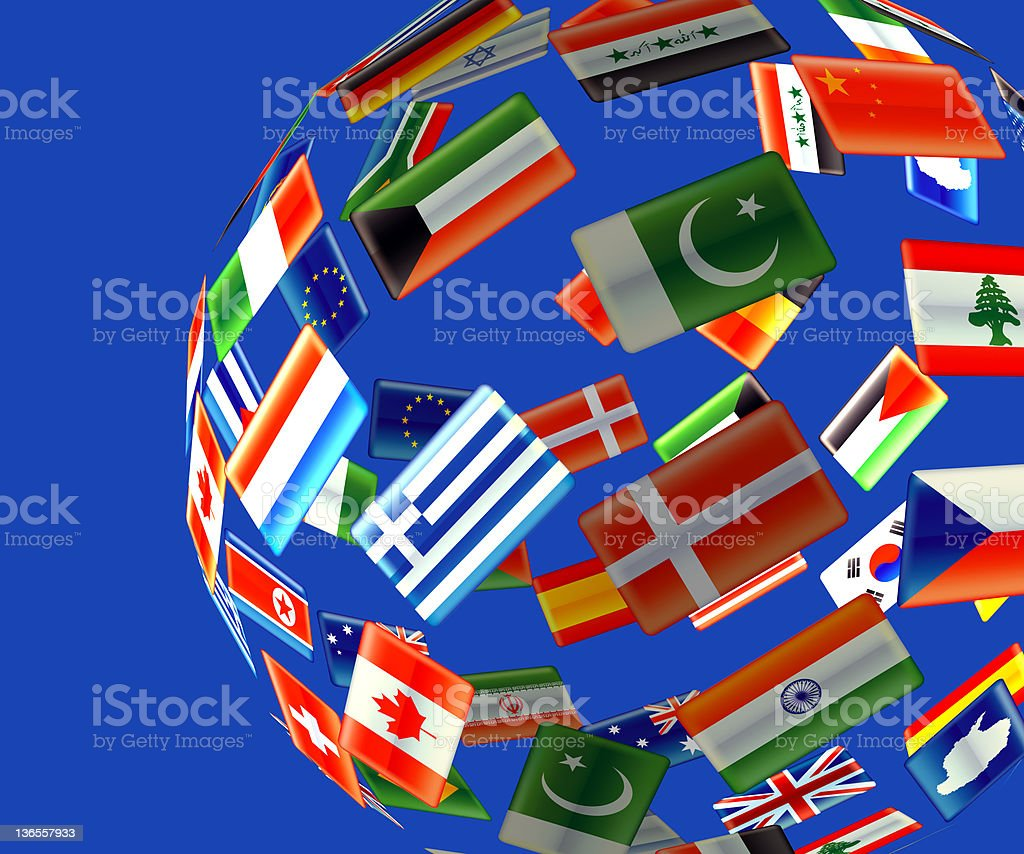 Globe of flags stock photo