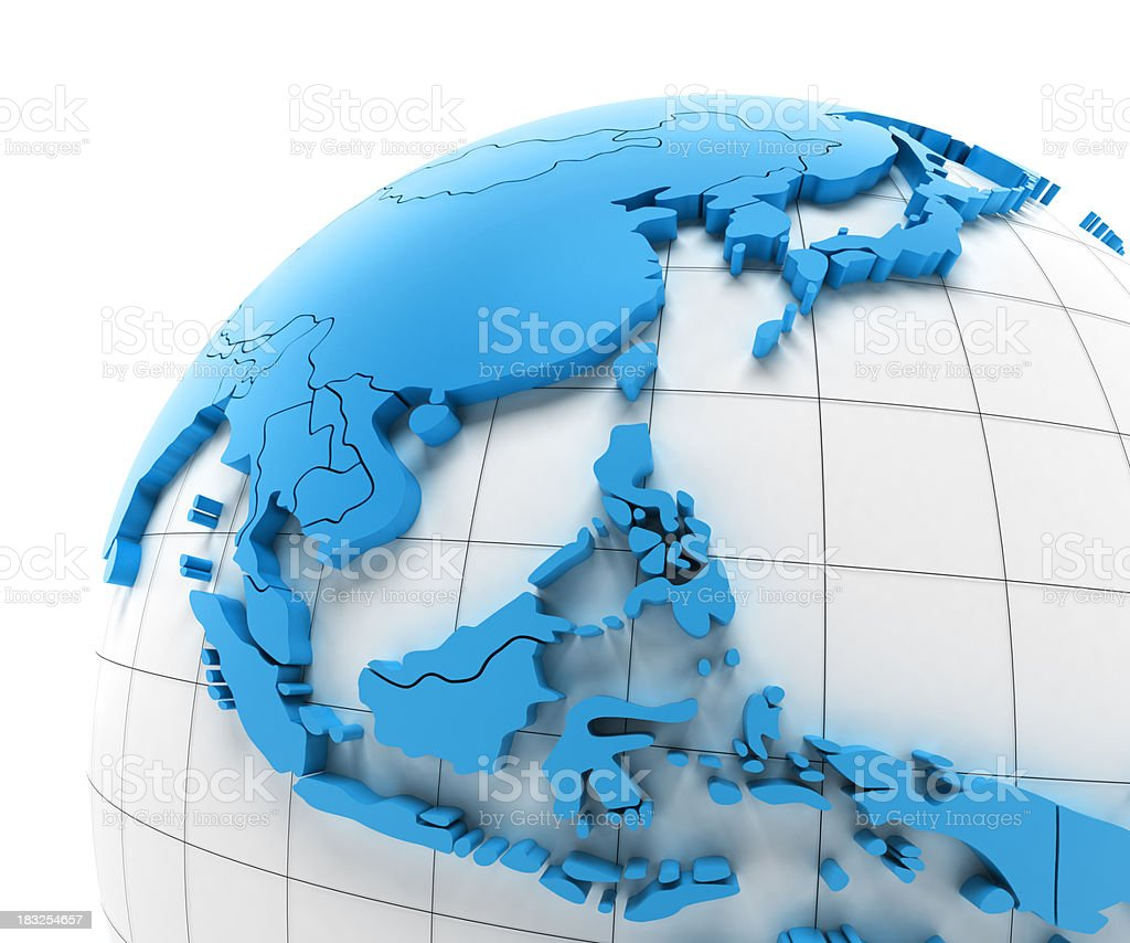'Globe of Southeast Asia with national borders, clipping paths pr' stock photo