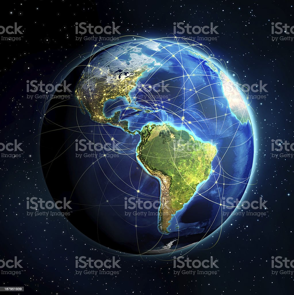 3D globe of the Americas with flight routes stock photo