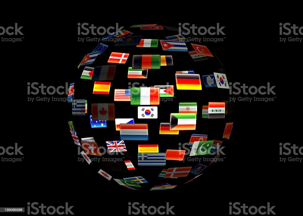 A globe of the earth made out of flags stock photo