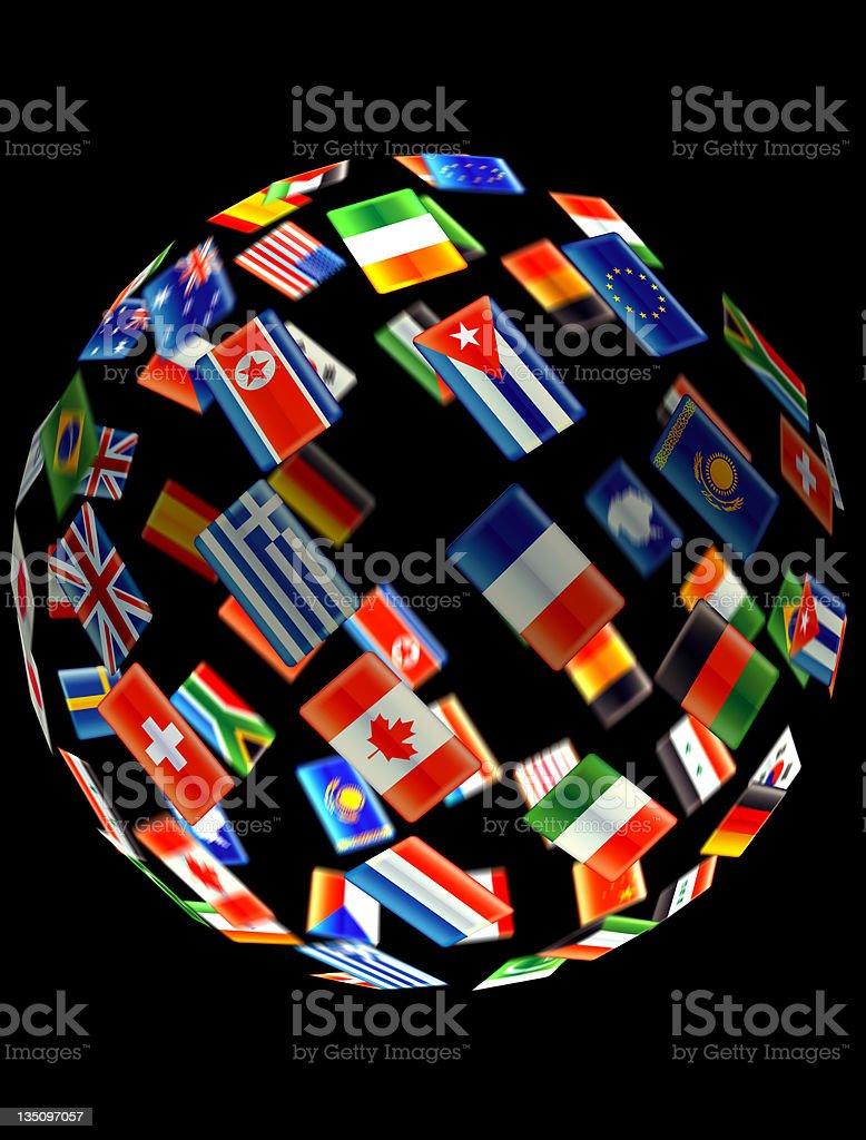 Globe of world flags royalty-free stock photo