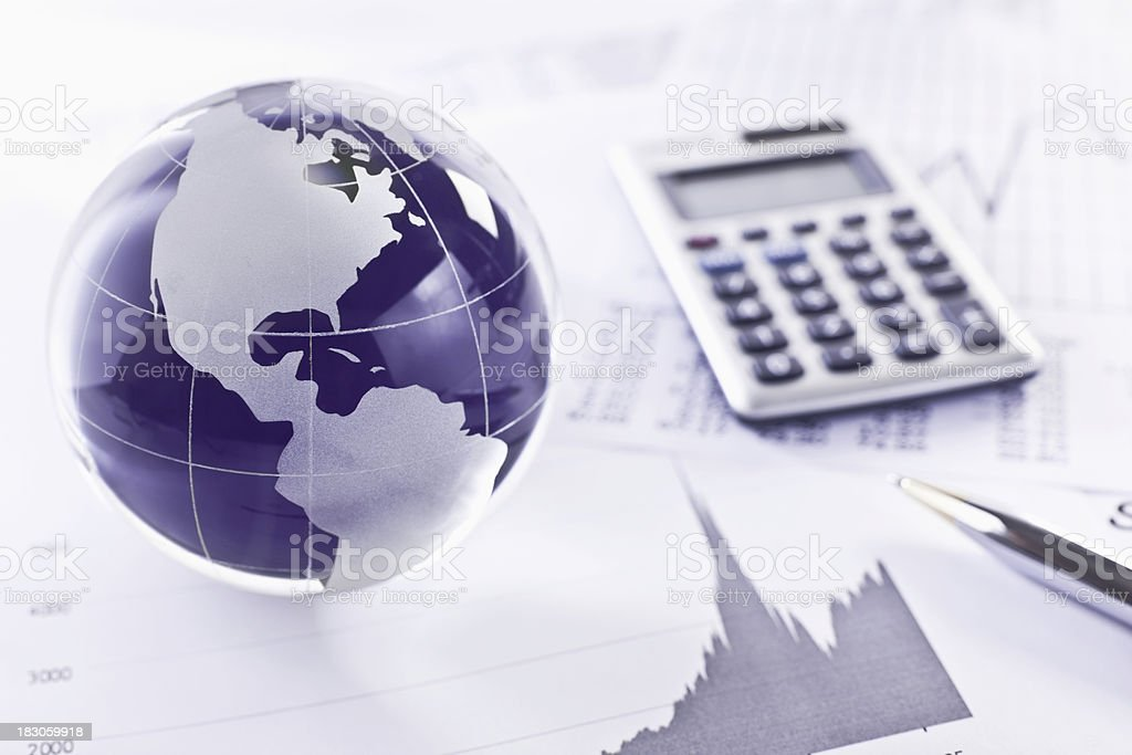 Globe on an Analytical Graph stock photo