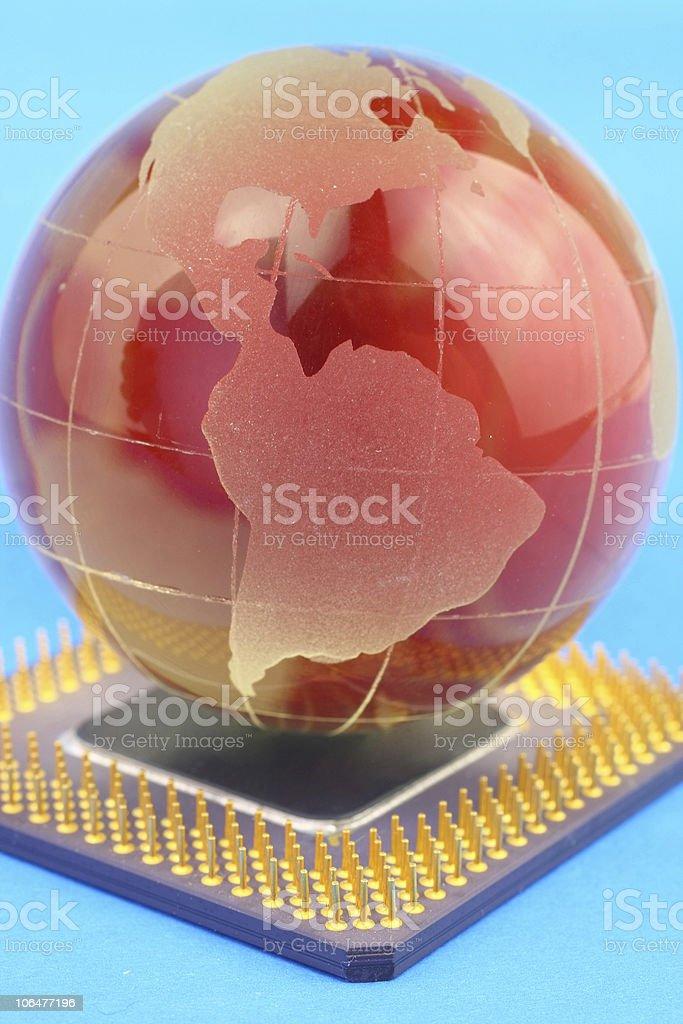 Globe on chip royalty-free stock photo