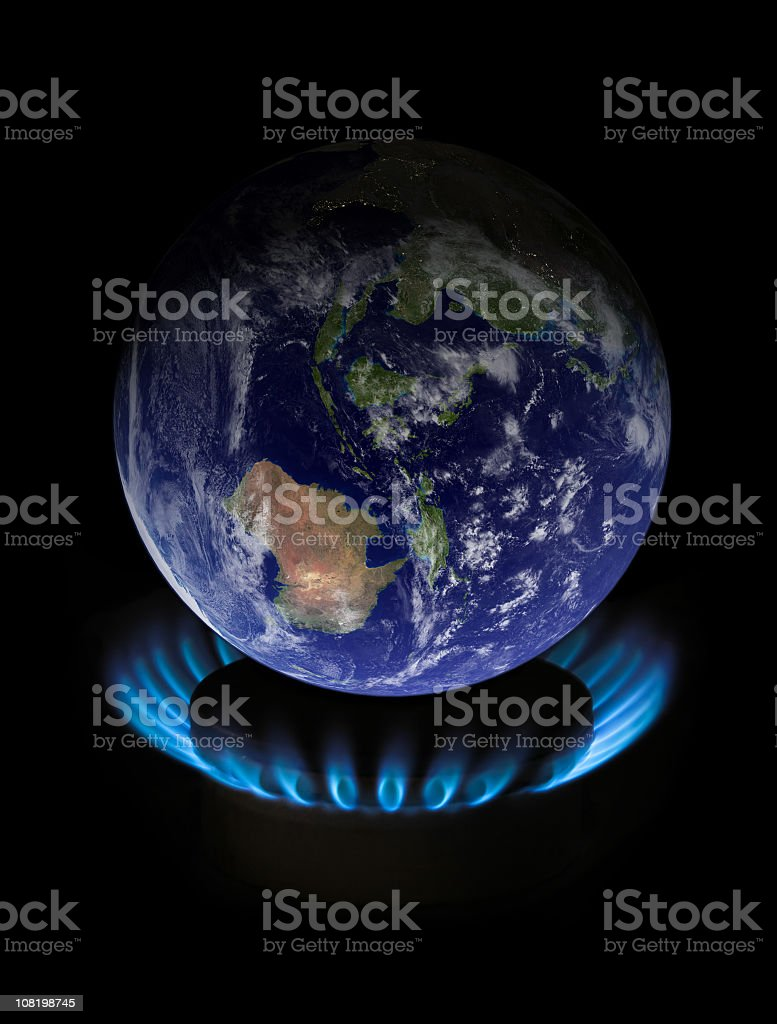 Globe on flame representing as global warming royalty-free stock photo