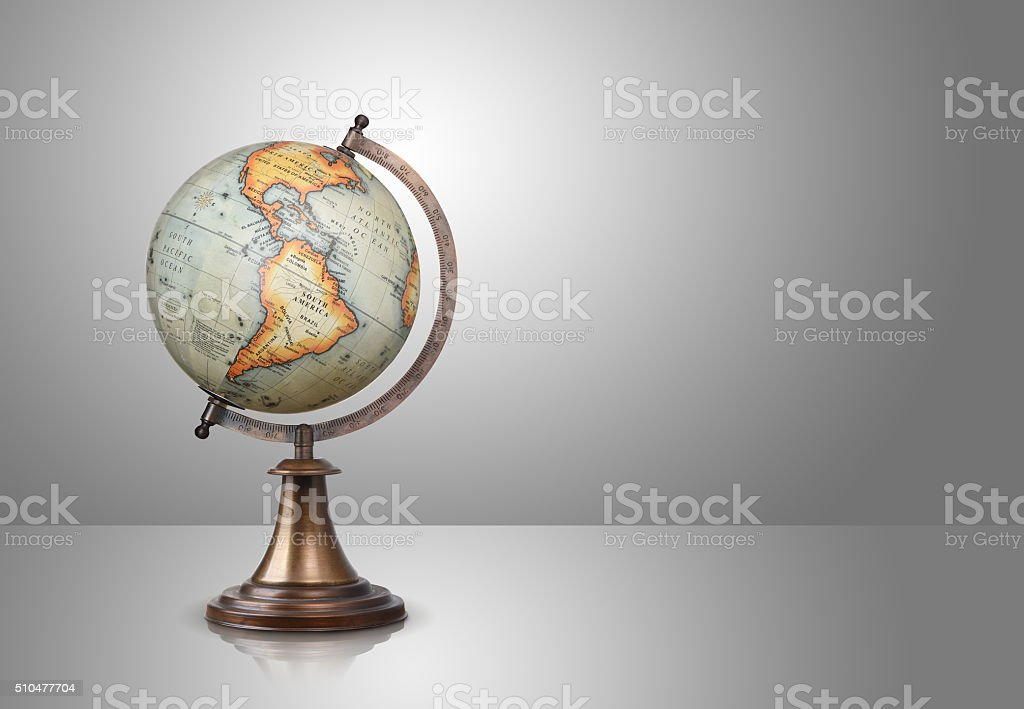 globe on gray stock photo