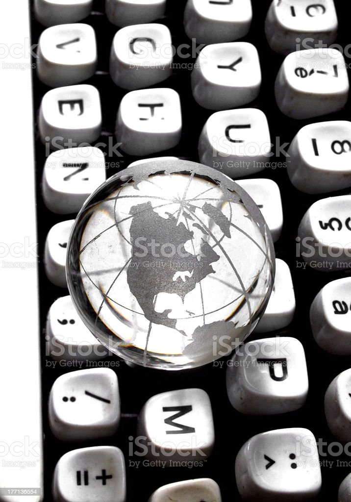 Globe on qwerty royalty-free stock photo