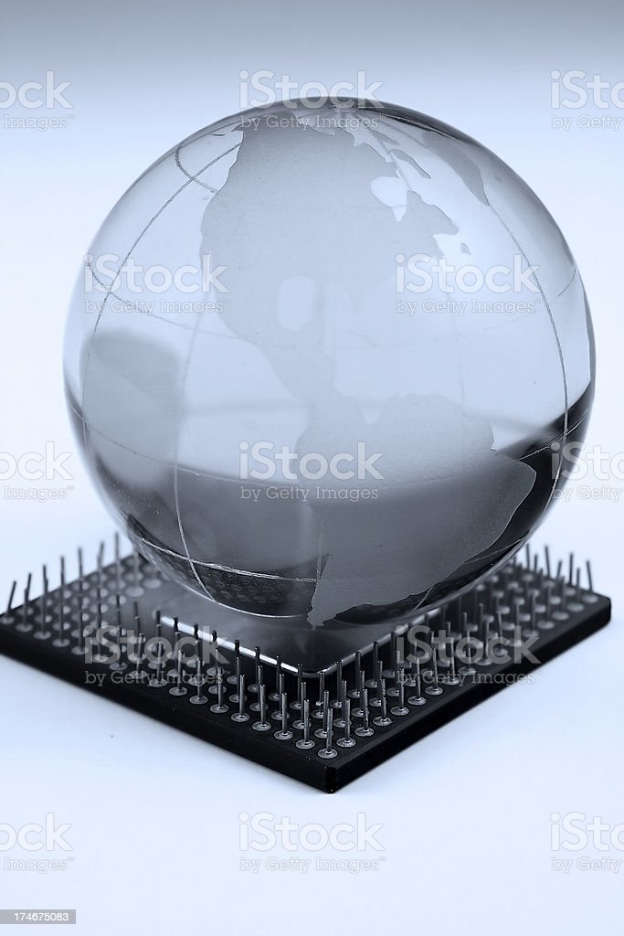 Globe on the chip stock photo