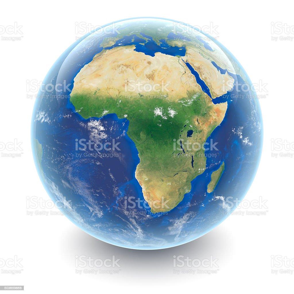 Globe on white - Africa with white studio reflections stock photo