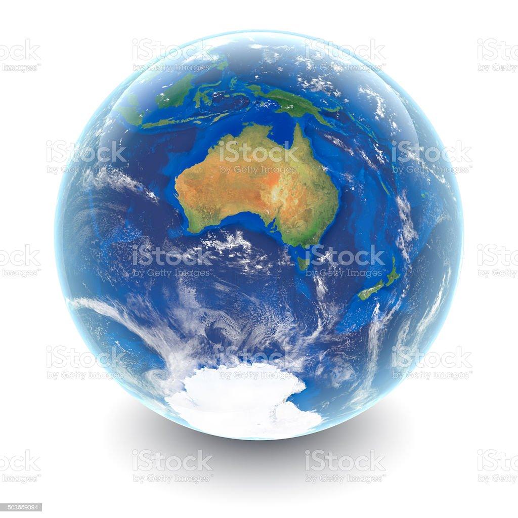 Globe on white - Australia with white studio reflections stock photo