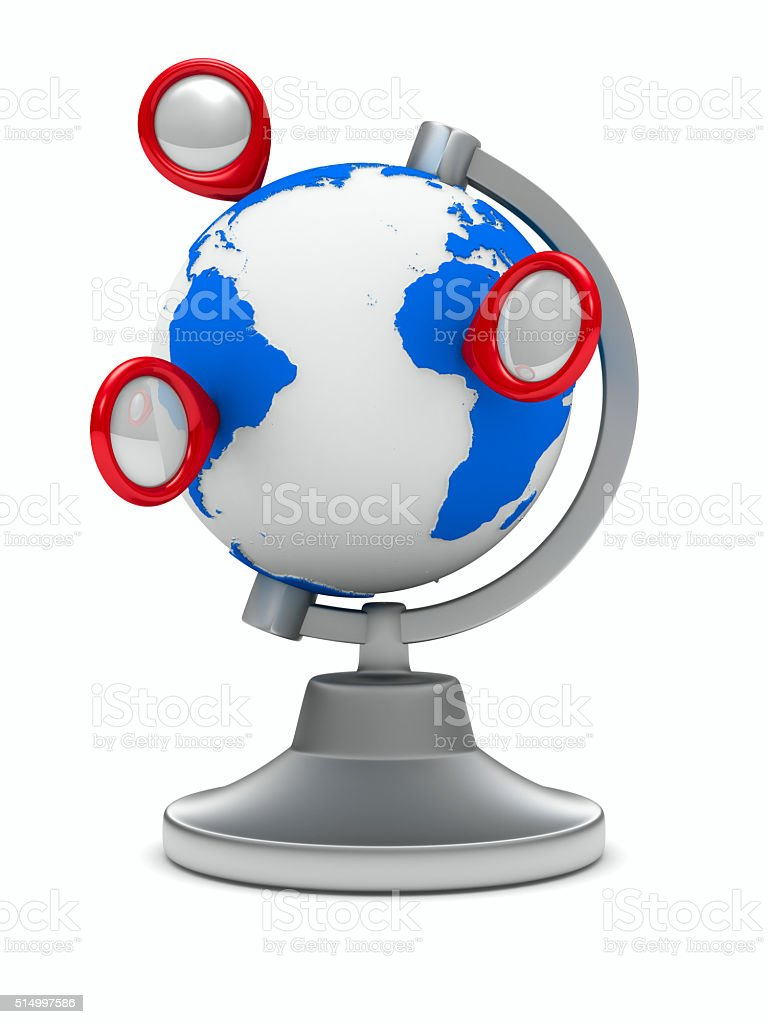 globe on white background. Isolated 3D image stock photo