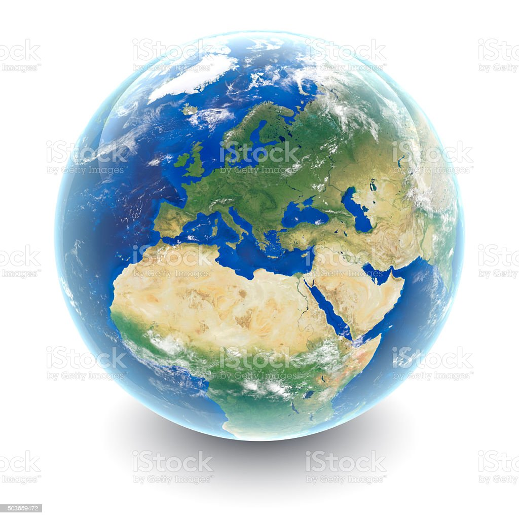 Globe on white - Europe with white studio reflections stock photo