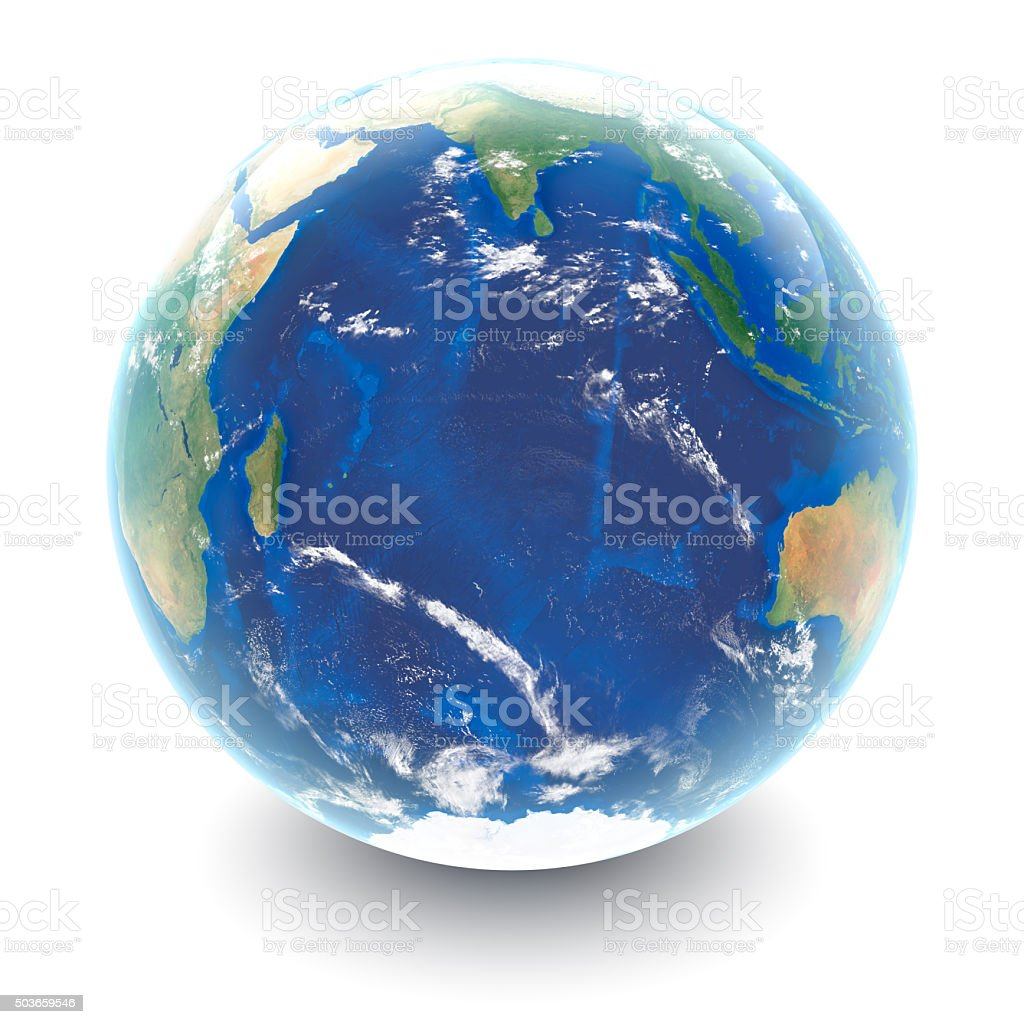 Globe on white - Indian Ocean with white studio reflections stock photo