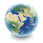 Globe on white - Middle East with white studio reflections