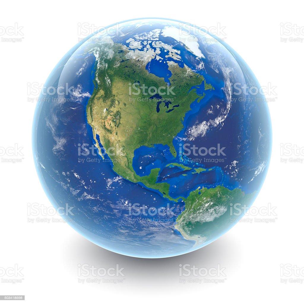 Globe on white - North America with white studio reflections stock photo