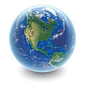 Globe on white - North America with white studio reflections