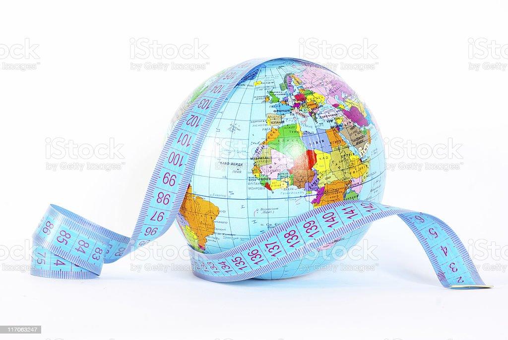 globe on white stock photo