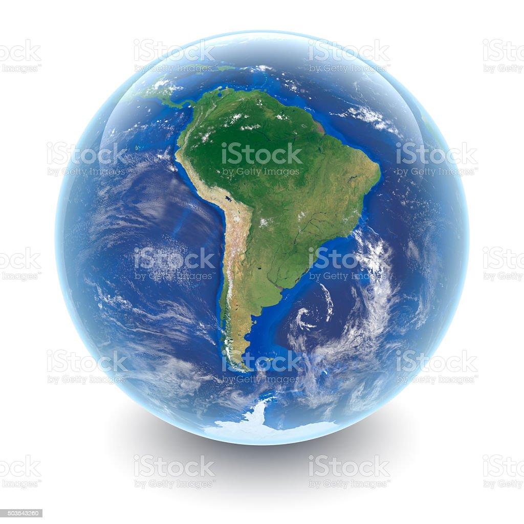 Globo em branco-América do Sul e branco com reflexões studio foto royalty-free